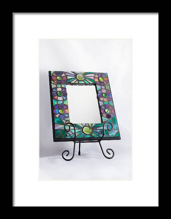 Rainbow Flower Stained Glass Mosaic Mirror Frame Framed Print by ...