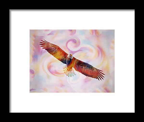 Bald Eagle Framed Print featuring the painting Rainbow Flying Eagle Watercolor Painting by Georgeta Blanaru