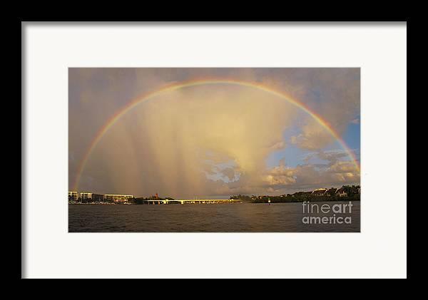 Rainbow Framed Print featuring the photograph Rainbow Jupiter Inlet by Bruce Bain