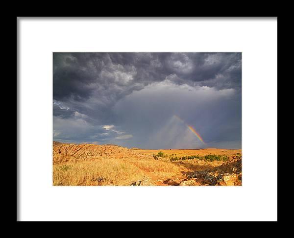 Rainbow Framed Print featuring the photograph Rainbow On The Plains by Sarah Rodefeld