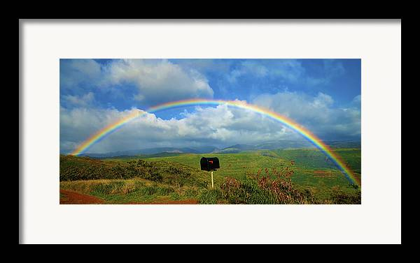 Amazing Framed Print featuring the photograph Rainbow Over A Mailbox by Kicka Witte
