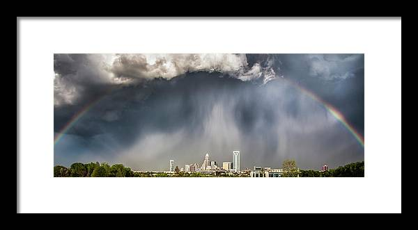 Rainbow Framed Print featuring the photograph Rainbow over Charlotte by Chris Austin