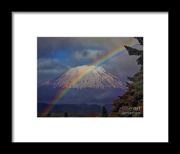 Rainbow Framed Print featuring the photograph Rainbow Over Mount St. Helens by Steven Baier