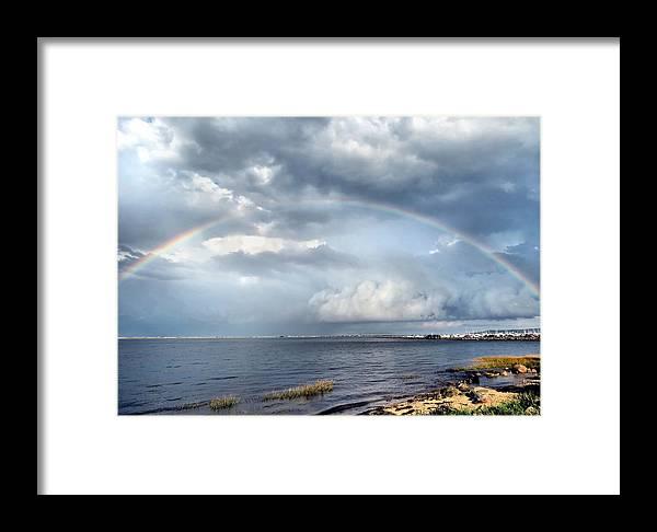 Rainbow Framed Print featuring the photograph Rainbow Seascape by Janice Drew