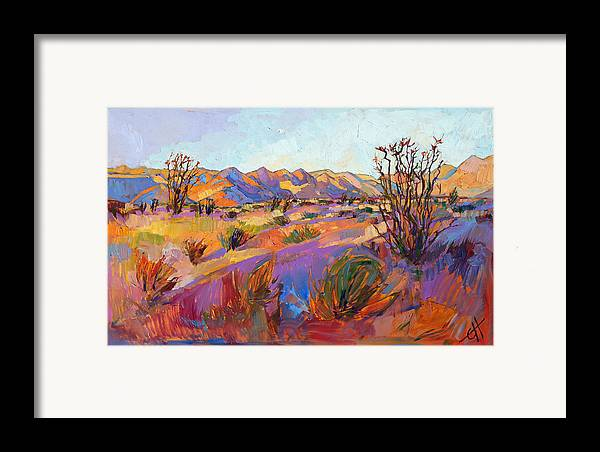Borrego Springs Framed Print featuring the painting Rainbow Sherbet by Erin Hanson