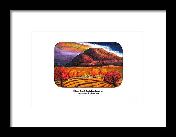 Relief Framed Print featuring the painting Rainbow Sunset Sandia Mtns by ArSpirare by Antonius