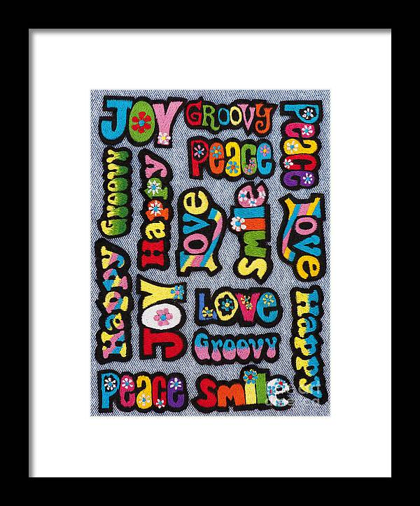 Embroidery Framed Print featuring the photograph Rainbow Text by Tim Gainey