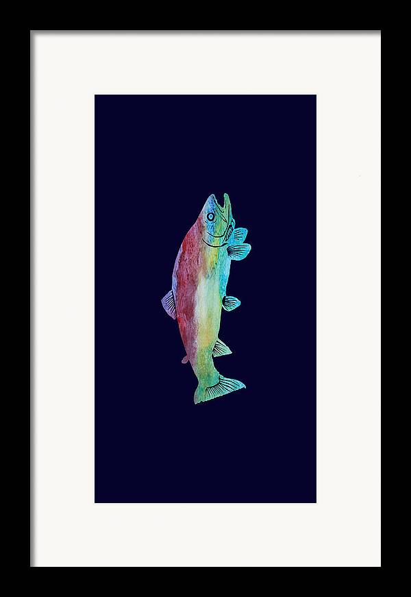 Trout Framed Print featuring the mixed media Rainbow Trout by Jenny Armitage