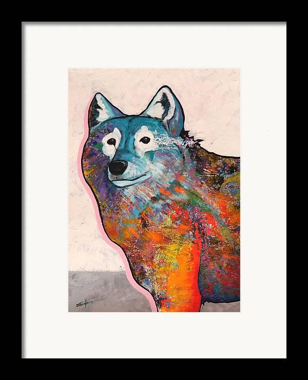 Animal Framed Print featuring the painting Rainbow Warrior - Alfa Wolf by Joe Triano