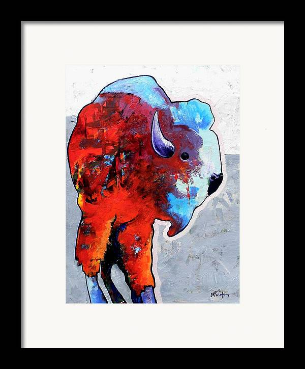 Wildlife Framed Print featuring the painting Rainbow Warrior Bison by Joe Triano