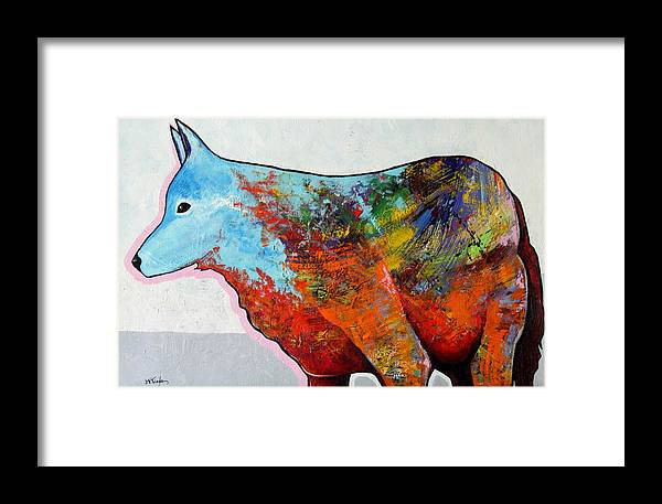 Animal Framed Print featuring the painting Rainbow Warrior - Coyote by Joe Triano