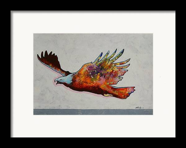 Wildlife Framed Print featuring the painting Rainbow Warrior Flying Eagle by Joe Triano