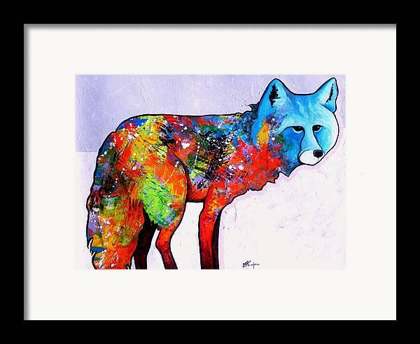 Animal Framed Print featuring the painting Rainbow Warrior - Fox by Joe Triano