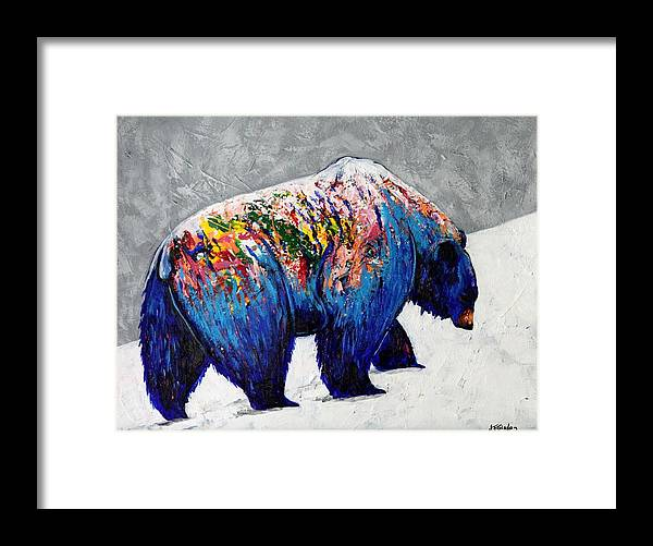 Wildlife Framed Print featuring the painting Rainbow Warrior - Heavy Going Grizzly by Joe Triano