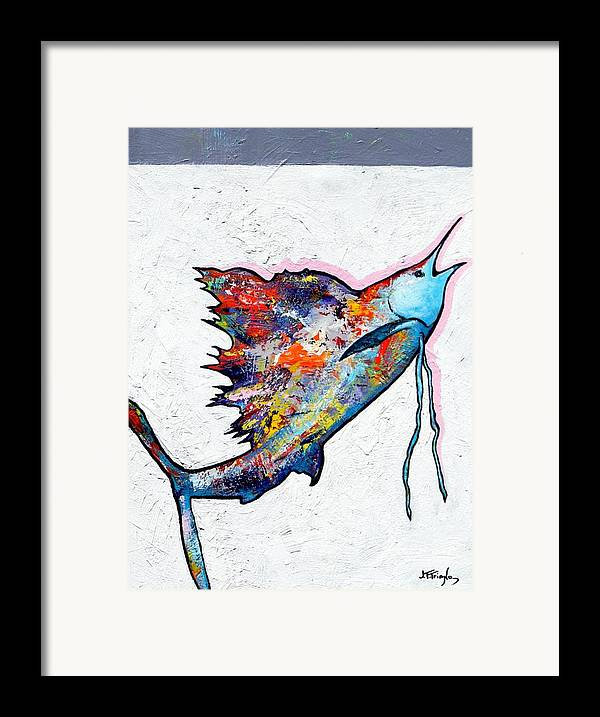 Wildlife Framed Print featuring the painting Rainbow Warrior - Sailfish by Joe Triano