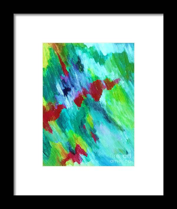 Waterfall Framed Print featuring the painting Rainbow Waterfall by Esther Rowden