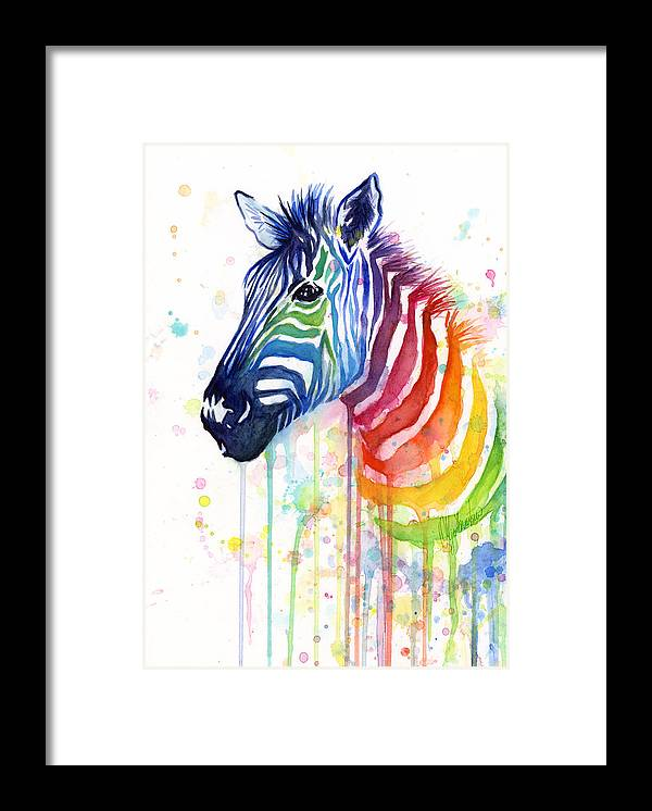 Rainbow Framed Print featuring the painting Rainbow Zebra - Ode to Fruit Stripes by Olga Shvartsur