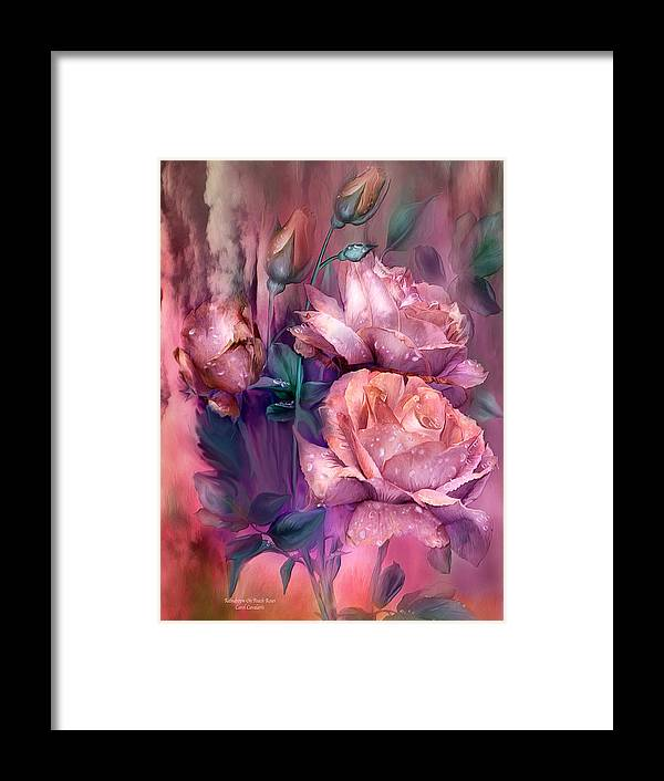 Rose Framed Print featuring the mixed media Raindrops On Peach Roses by Carol Cavalaris