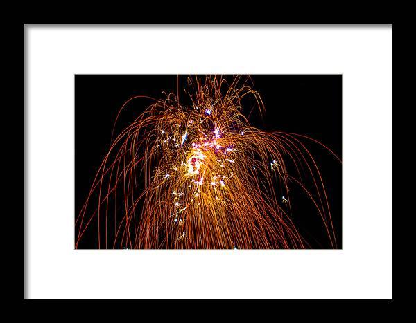 Framed Print featuring the photograph Raining Fire by Gerald Kloss