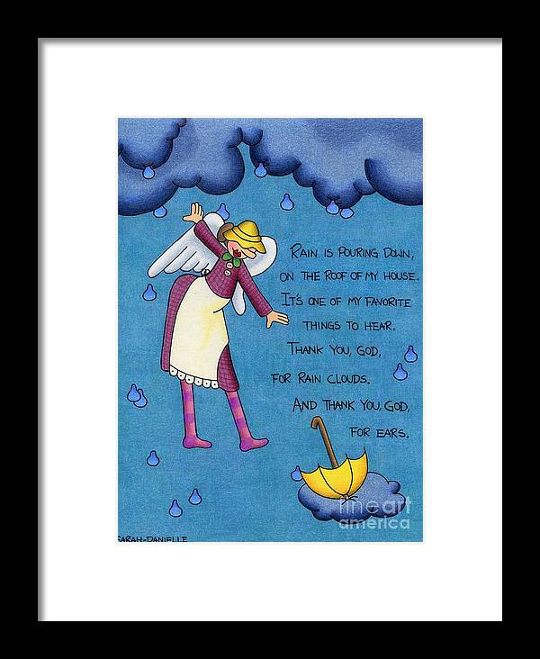 Angels Framed Print featuring the drawing Rainy Day Angel by Sarah Batalka