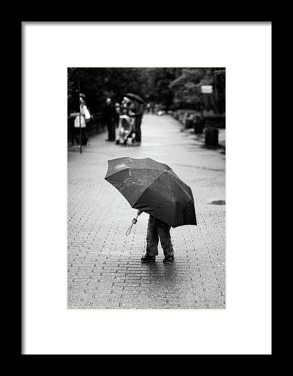 Umbrella Framed Print featuring the photograph Rainy Day by Liesbeth Van Der