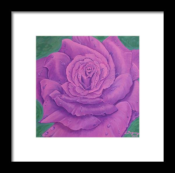 Flower Framed Print featuring the painting Rainy Day Rose by Sharon Duguay