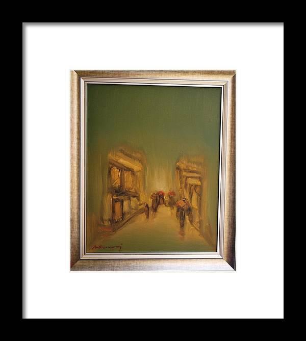 Albania Painter Framed Print featuring the painting Rainy Day by Shkelqim Kokonozi