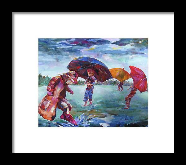 Rainy Day Scene Framed Print featuring the painting Rainy Days by Naomi Gerrard