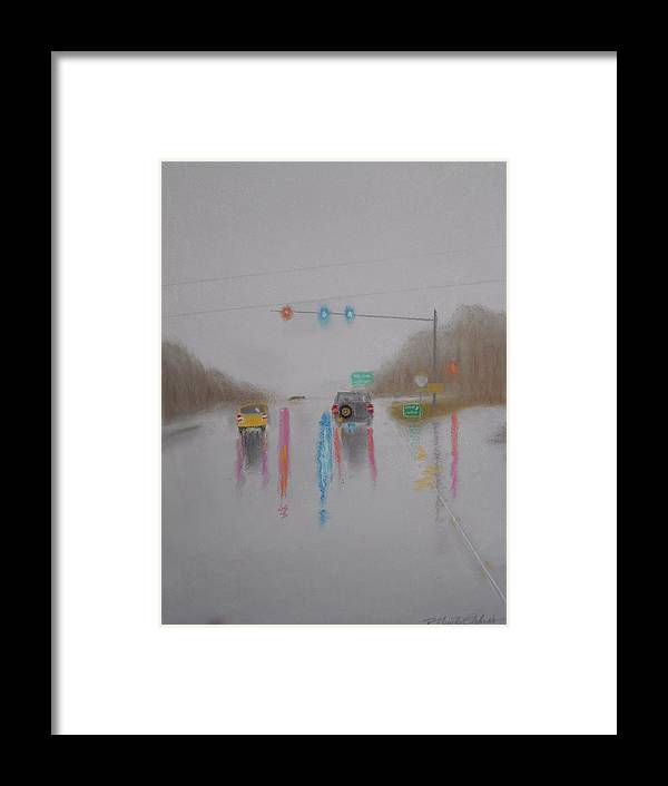 Gray Day Framed Print featuring the mixed media Rainy Foggy Drive In The Country by R Neville Johnston