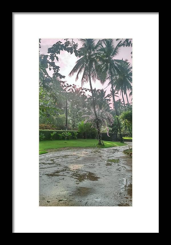 Landscape Framed Print featuring the photograph rainy Kerala by Shiyad K k