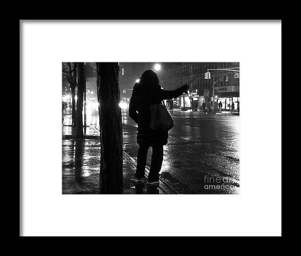 Street Photography Framed Print featuring the photograph Rainy Night - Hailing A Cab by Miriam Danar