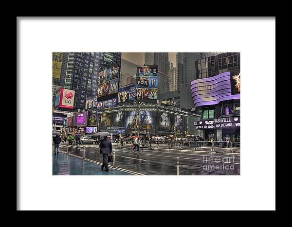 New York Framed Print featuring the photograph Rainy Times Square by David Bearden