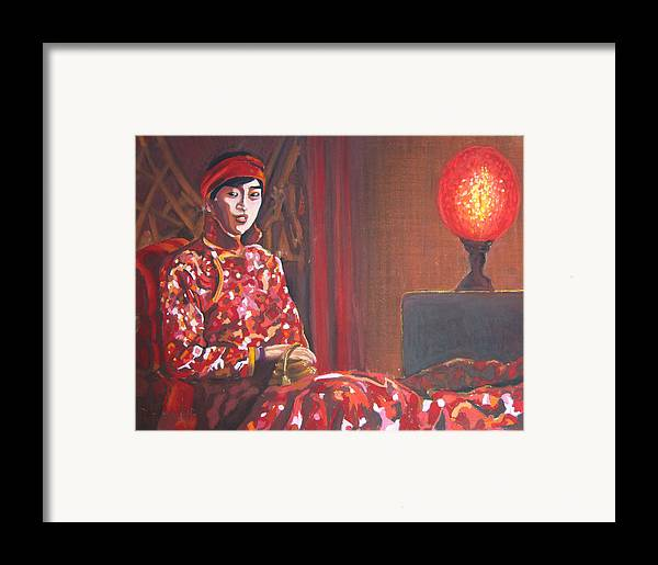 Chinese Framed Print featuring the pastel Raise The Red Lantern by Karen Coggeshall