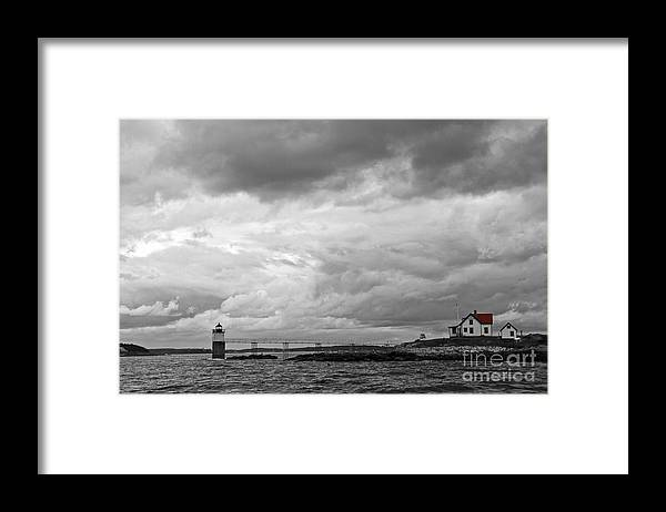 Tinted Framed Print featuring the photograph Ram Island BW by Brenda Giasson