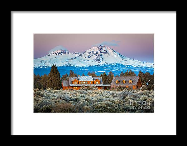 America Framed Print featuring the photograph Ranch House And Sisters by Inge Johnsson