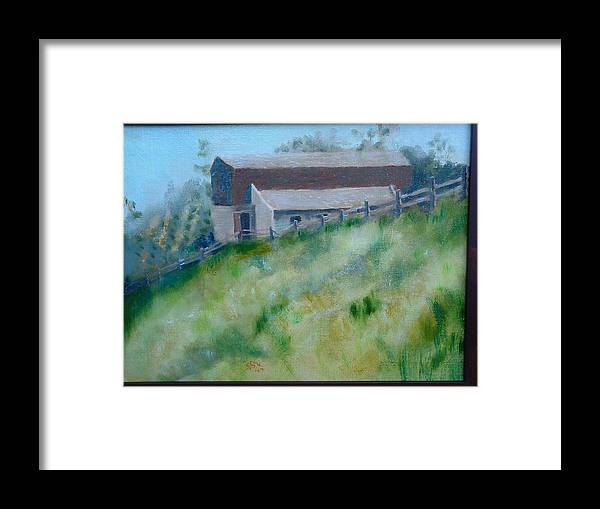 Landscape Horse Barn Estate Framed Print featuring the painting Rancho Sante Fe Stable Of Sahm by Bryan Alexander