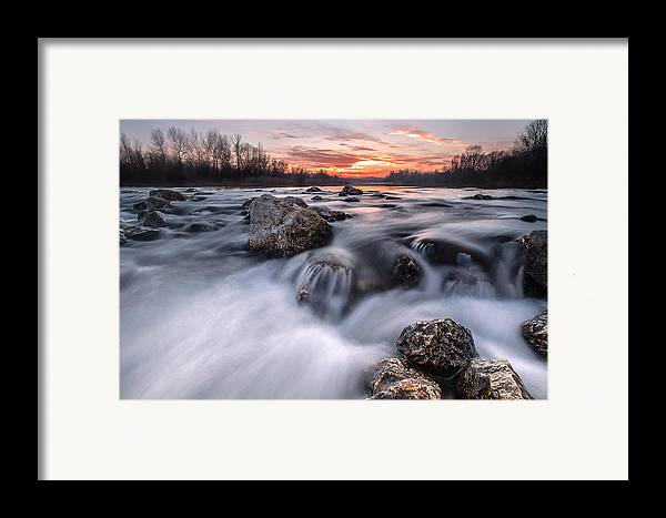Landscapes Framed Print featuring the photograph Rapids On Sunset by Davorin Mance