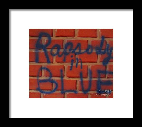 Abstract Framed Print featuring the painting Rapsody In Blue by Laurie Morgan