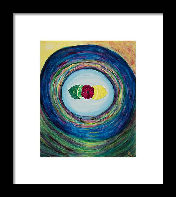 'phoenix Framed Print featuring the painting Raspberry Lemon Lime by Phoenix The Moody Artist