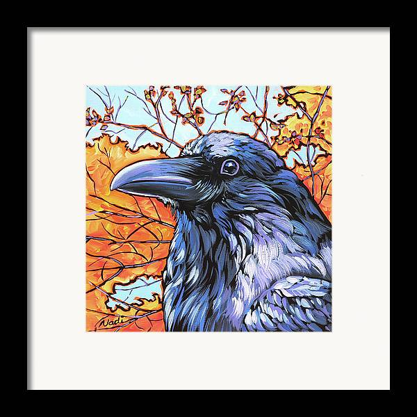 Raven Framed Print featuring the painting Raven Head by Nadi Spencer