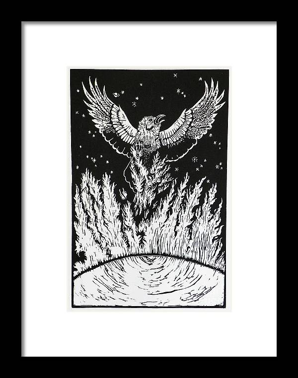 Raven Framed Print featuring the drawing Raven Stealing Fire From The Sun - Woodcut Illustration For Corvidae by Dawn Senior-Trask