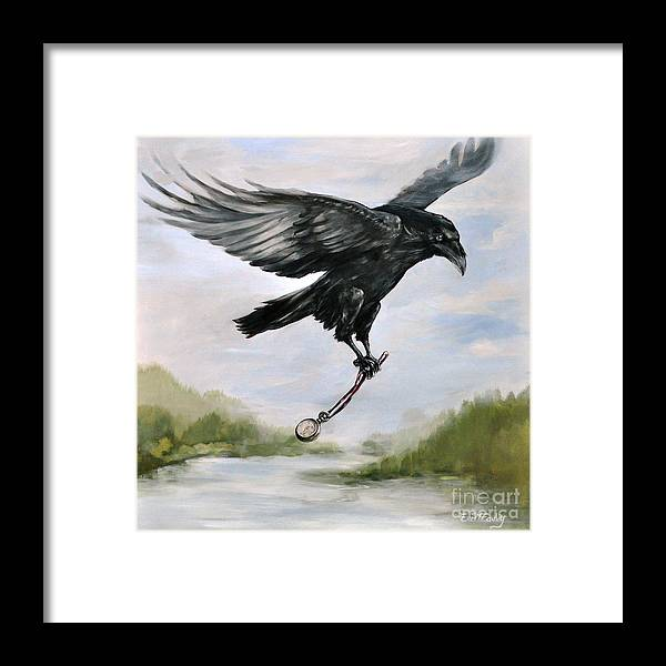 Raven Painting Framed Print featuring the painting Raven Stealing Time by Eve McCauley