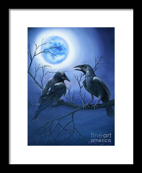 Ravens Framed Print featuring the painting Raven's Moon by Lora Duguay