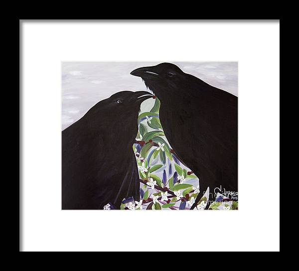 #raven Framed Print featuring the painting Ravens Song by Jacquelinemari