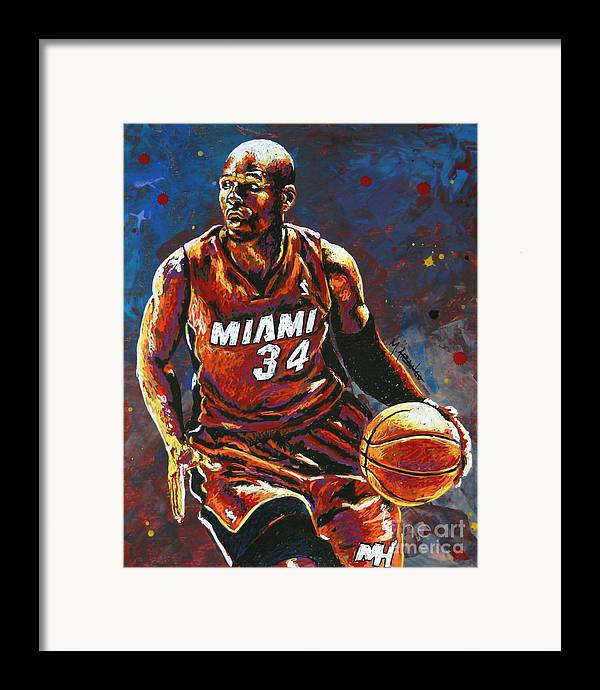 Ray Framed Print featuring the painting Ray Allen by Maria Arango