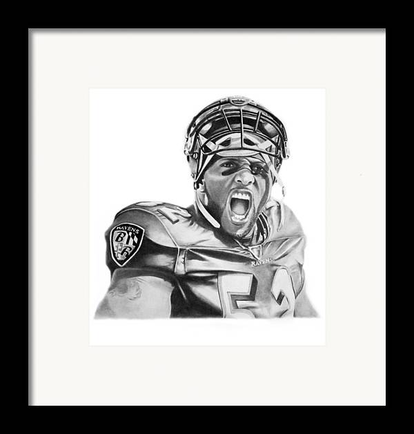 Ray Lewis Framed Print featuring the drawing Ray Lewis by Don Medina
