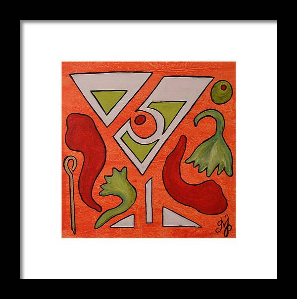 Martini Framed Print featuring the painting Red Hot Chili Pepper Martini With A Twist by Meganne Peck