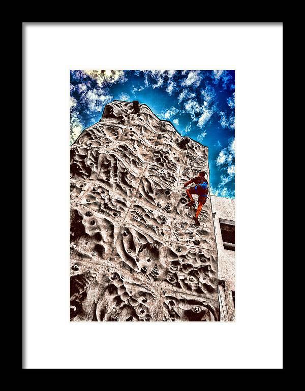Climb Framed Print featuring the photograph Reaching A Climbmax by John Haldane