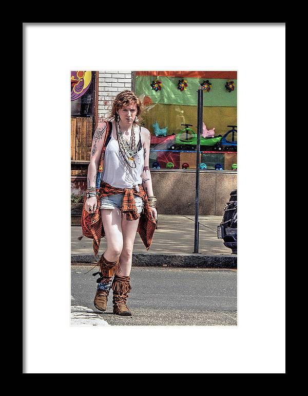 Read Hair Framed Print featuring the photograph Redhead Crossing Main Street by Geoffrey Coelho