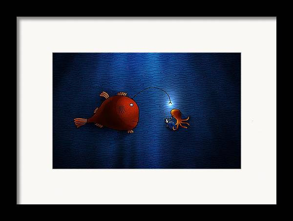Abstract Framed Print featuring the drawing Reading Buddies by Gianfranco Weiss